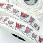 Ruban Tissé Tasses - Disponible au magasin L'Îlot Lamp' à Granville et sur notre site L'Îlot Lamp'. Retrouvez toute la collection de rubans ici !