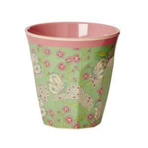 Gobelet Mélamine with Butterfly and Flower Print Two Tone Rice - Disponible au magasin L'Îlot Lamp' à Granville et sur notre site L'Îlot Lamp'.Retrouvez la collection Rice