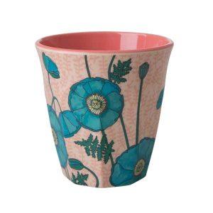Gobelet Mélamine with Blue Poppy Print Two Tone Rice - Disponible au magasin L'Îlot Lamp' à Granville et sur notre site L'Îlot Lamp'.Retrouvez la collection Rice