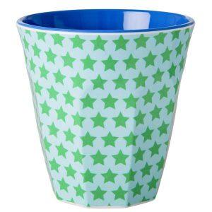 Gobelet Mélamine with Green and Turquoise Star Print Two Tone Rice - Disponible au magasin L'Îlot Lamp' à Granville et sur notre site L'Îlot Lamp'.Retrouvez la collection Rice