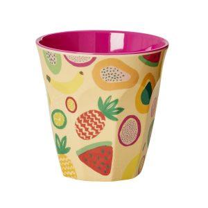 Gobelet Mélamine with Tutti Frutti Print Two Tone Rice - Disponible au magasin L'Îlot Lamp' à Granville et sur notre site L'Îlot Lamp'.Retrouvez la collection Rice