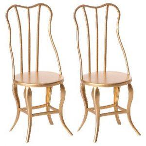 2 Vintage Chairs Micro Gold - Maileg - Disponible au magasin L'Îlot Lamp' à Granville et sur notre site. Retrouvez la collection MAILEG !
