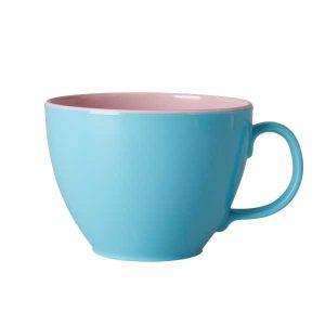 Tasse Mélamine Two Tone Jumbo Aqua Pink Rice - Disponible au magasin L'Îlot Lamp' à Granville et sur notre site L'Îlot Lamp'. Retrouvez la collection Rice !