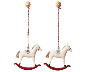 Ornament Rocking horse - metal Bleu