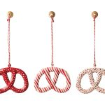 Ornament Pretzel - Metal Rayures rouges