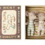 Baby Mice Twins in Box Rayures - Maileg -