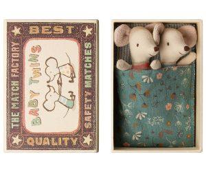 Baby Mice Twins Petrol in Box - Maileg