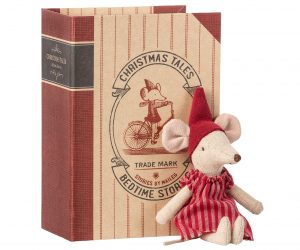 Christmas Mouse in Book Big Sister - Maileg